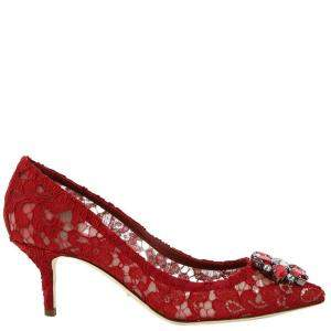 Dolce & Gabbana Red Taormina Lace Crystals Bellucci Pumps Size IT 37