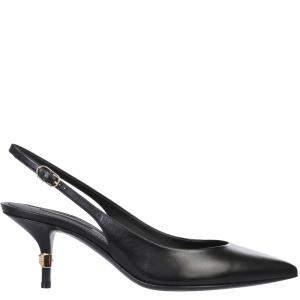 Dolce & Gabbana Black young goatskin with DG logo Slingback pumps Size IT 38.5