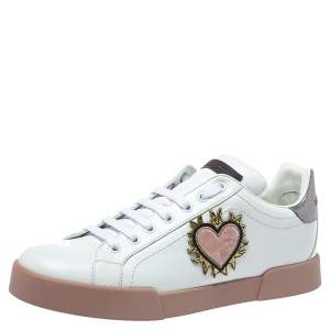 Dolce & Gabbana White Leather Love Applique Portofino Low Top Sneakers Size 41