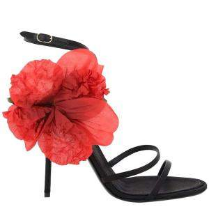 Dolce & Gabbana Black/Red Silk Flower Satin sandals Size IT 38