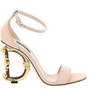 Dolce & Gabbana Pink Polished Calfskin DG Baroque Heel Sandals Size IT 38