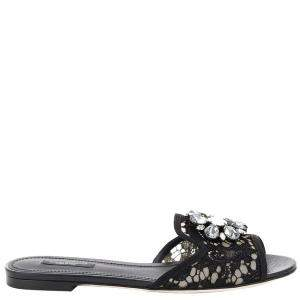 Dolce and Gabbana Black Lace Sofia Crystal Embellished Slides Size EU 38