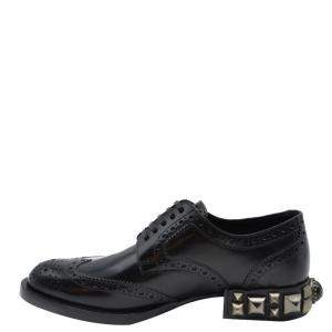 Dolce and Gabbana Black Leather Detail Derby Shoes Size EU 35
