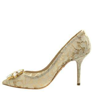 Dolce and Gabbana Beige Taormina lace Crystals Pumps Size EU 40
