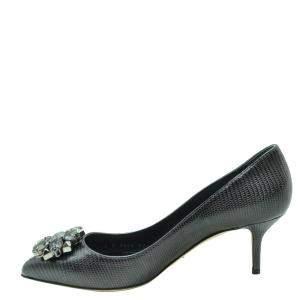 Dolce & Gabbana Black Lizard Embossed Leather Crystal Embellished Pumps Size EU 37