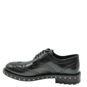 Dolce & Gabbana Black Leather Studded Detail Derby Shoes Size EU 36.5