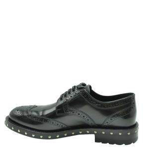 Dolce & Gabbana Black Leather Studded Detail Derby Shoes Size EU 38.5