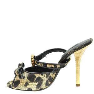 Dolce & Gabbana Leopard Print Peep Toe Mules Size EU 36