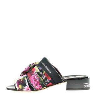 Dolce & Gabbana Multicolor Floral Printed Fabric Crystal Embellished Bow Open Toe Flat Mules Size EU 37