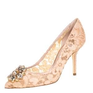 Dolce & Gabbana Peach Lace And Mesh Crystal Taormina Pump Size 39