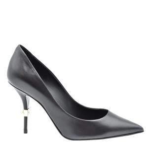 Dolce & Gabbana Black Young Goatskin DG logo Pointed Toe Pumps Size 38
