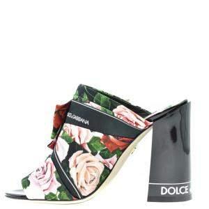 Dolce & Gabbana Multicolor Floral Print Block Heel Mules Size EU 38