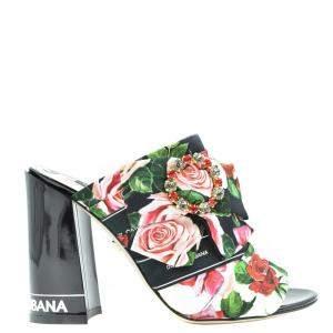Dolce & Gabbana Multicolor Floral Printed Viscose Sandals Size EU 37