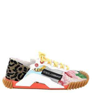 Dolce & Gabbana Multicolor Patchwork fabric NS1 slip-on Sneakers Size IT 37