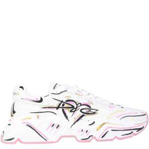 Dolce & Gabbana White Hand-painted Daymaster Sneakers Size IT 37