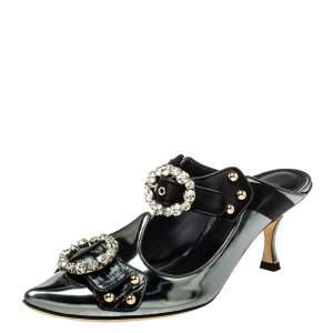 Dolce & Gabbana Metallic Grey/Black Leather And Satin Crystal Embellished Mules Size 38