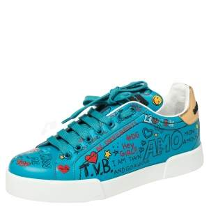 Dolce & Gabbana Blue Leather Graffiti Low Top Sneakers Size 36