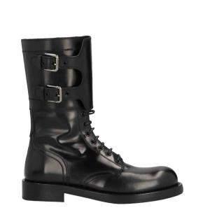 حذاء بوت دولتشي أند غابانا كومبات جلد عجل مصقول أسود مقاس أوروبي 40