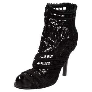Dolce & Gabbana Black Lace Peep Toe Booties Size 35