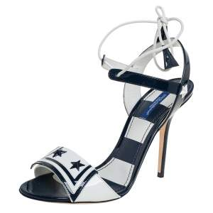Dolce & Gabbana Navy Blue/White Patent Leather Keira Ankle Tie Open Toe Sandals Size 38