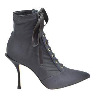 Dolce & Gabbana Black Leather Lace Up Booties Size EU 35