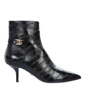 Dolce & Gabbana Black Eel Leather Ankle Boots Size IT 38