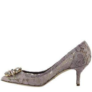Dolce & Gabbana Dark Purple Taormina Lace Pumps Size EU 41