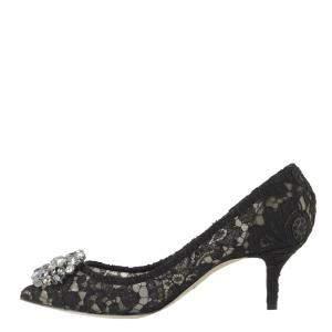 Dolce & Gabbana Black Taormina Lace Pumps Size EU 37.5