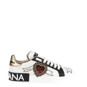 Dolce & Gabbana White Portofino Patch and Embriodery Sneakers Size EU 36.5
