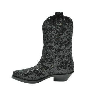 Dolce and Gabbana Black Sequins Boots Size EU 40