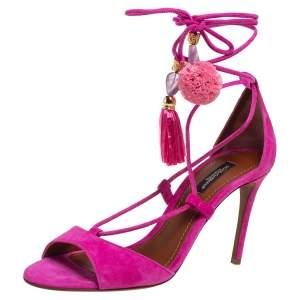 Dolce & Gabbana Pink Suede Pom Pom Tassel Ankle Strap Sandals Size 36.5