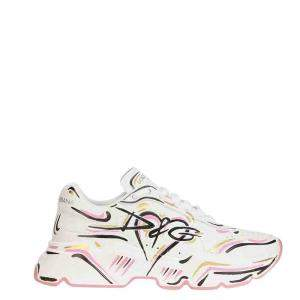 Dolce & Gabbana White Leather Hand Printed Daymaster Sneakers Size EU 41
