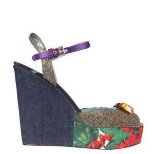 Dolce & Gabbana Multicolour Patchwork fabrics Wedge Sandals Size IT 38.5