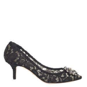 Dolce & Gabbana Black Taormina Lace Crystals Embellished Pumps Size EU 38