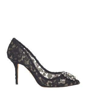 Dolce & Gabbana Black Taormina Lace Crystals Embellished Pumps Size EU 37.5