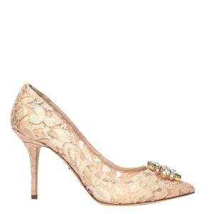 Dolce & Gabbana Beige Taormina Lace Crystals Embellished Pumps Size EU 37.5