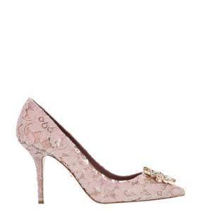 Dolce & Gabbana Pink Taormina Lace Crystals Embellished Pumps Size EU 38.5