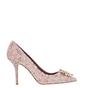 Dolce & Gabbana Pink Taormina Lace Crystals Embellished Pumps Size EU 40