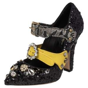 Dolce & Gabbana Black Mixed Media Crystal Embellished Mary Jane Pumps Size 36