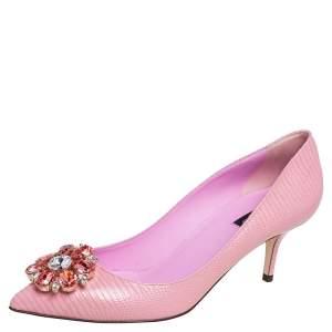 Dolce & Gabbana Pink Lizard Embossed Leather Bellucci Crystal Embellished Pumps Size 40