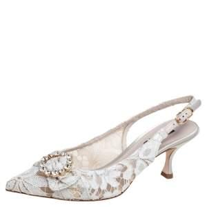 Dolce & Gabbana Grey Lace Lori Embellished Slingback Sandals Size 37.5