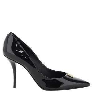 Dolce & Gabbana Black Patent Leather DG Pop Pumps Size IT 38