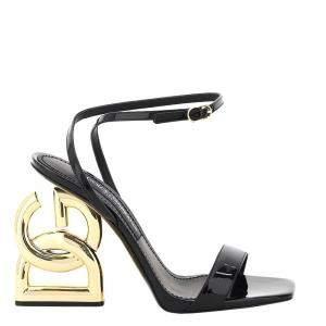 Dolce & Gabbana Black Patent Leather Dg Pop Heel Sandals Size IT 36