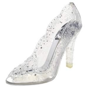 Dolce & Gabbana Silver PVC Crystal Embellishment Cinderella Pumps Size 40