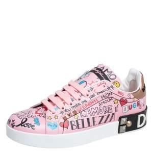 Dolce & Gabbana Pink Leather Portofino Graffiti Print Low Top Sneakers Size 38