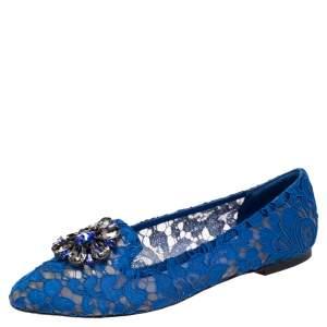 Dolce & Gabbana Blue Lace Taormina Ballet Flats Size 39