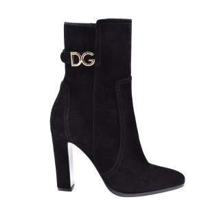 Dolce & Gabbana Black Suede DG logo Boots Size EU 36