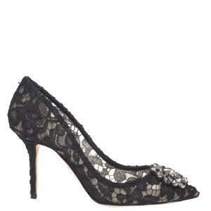 Dolce & Gabbana Black Taormina lace with crystals Pumps Size EU 35