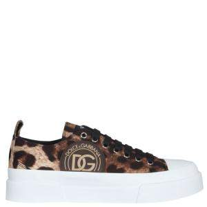 Dolce & Gabbana Leopard Print Portofino Low Top Sneakers Size IT 36