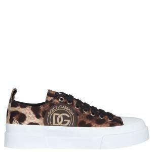 Dolce & Gabbana Leopard Print Portofino Low Top Sneakers Size IT 37